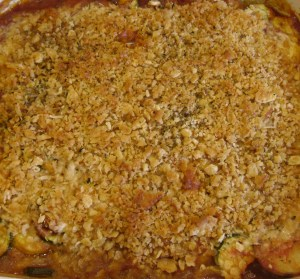 Piping hot Italian Vegie Layered Casserole just out of oven