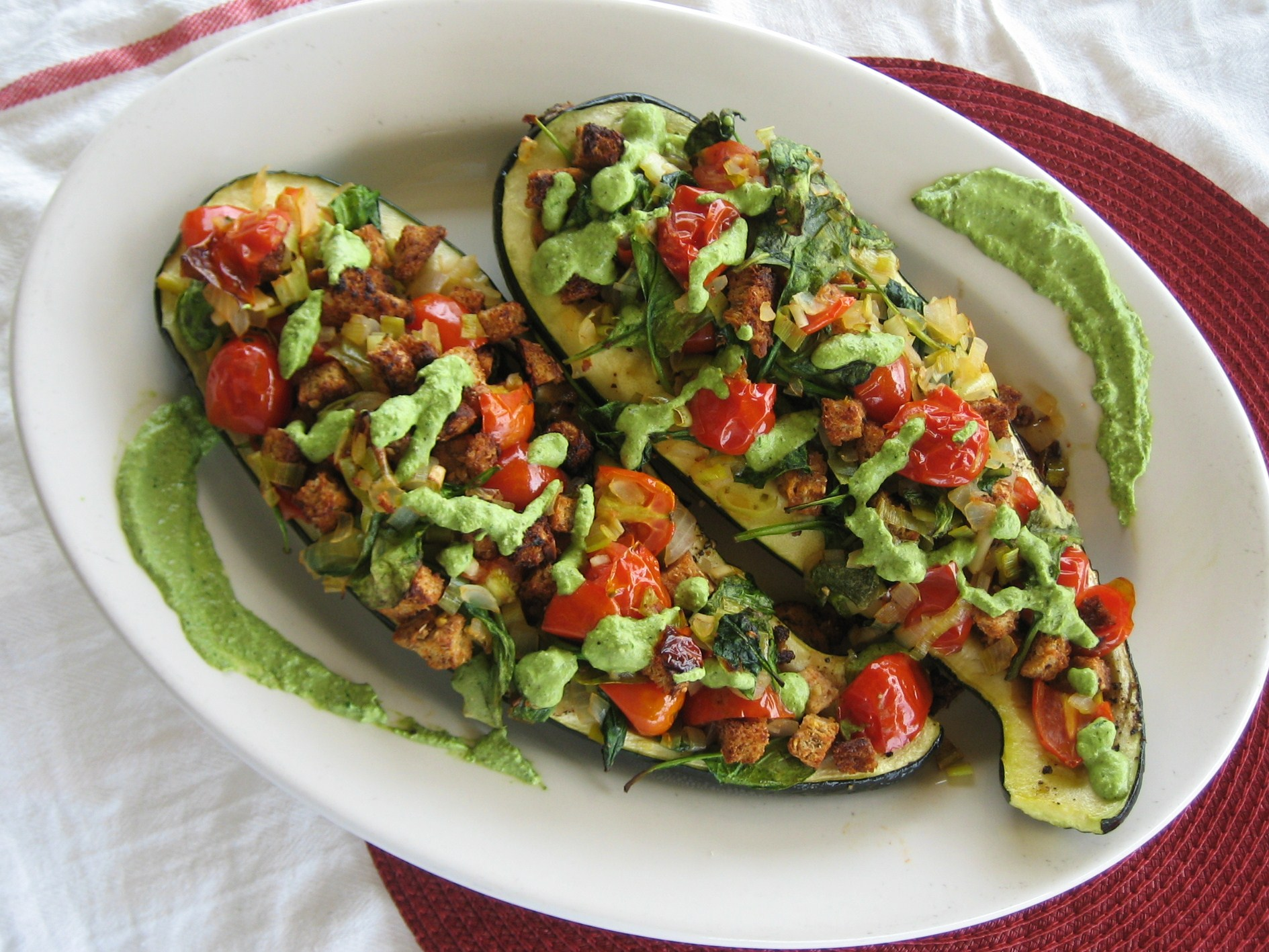 Stuffed Garden Zucchini with Spinach & Walnut Pesto | We Laugh, We Cry ...