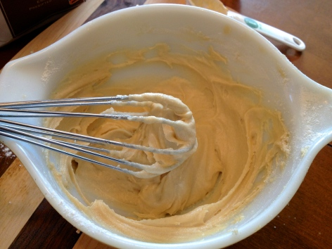 Mix the flour into the wet ingredients.