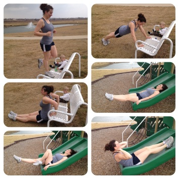 Resourcefully using the playground equipment for a Sunday afternoon workout/jog with the family.