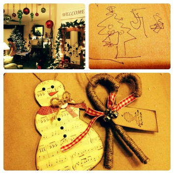 Festive decorations, silly games (I drew that picture on my head), and adorable crafty ornaments.