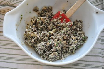 You want a nice thick mixture just sticky enough to hold everything together. Add more bread crumbs if needed.