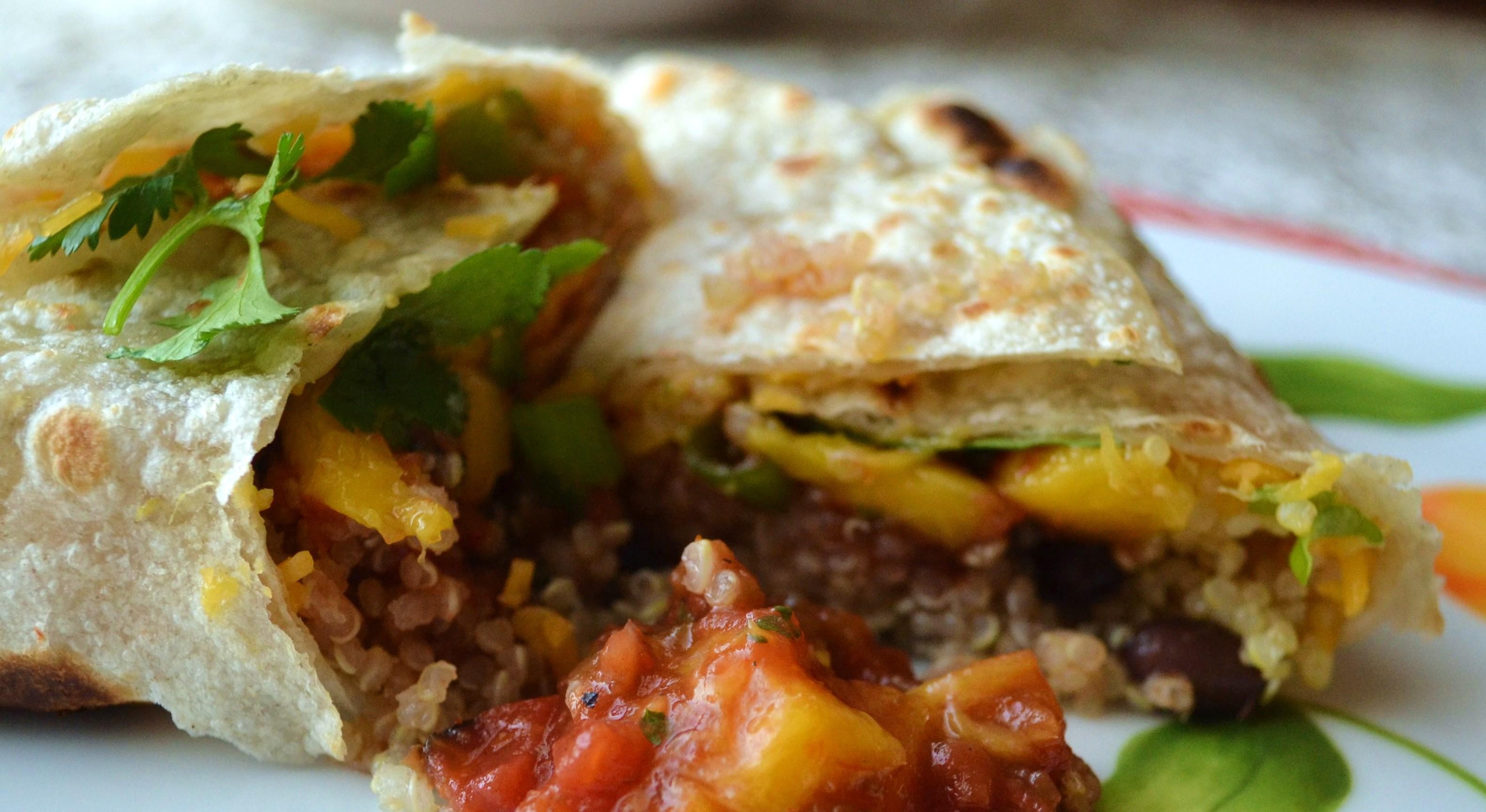 Quinoa Mango Black Bean Burrito | We Laugh, We Cry, We Cook