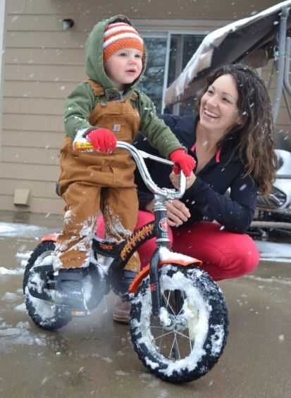 No time like snow time to learn to ride a bike.
