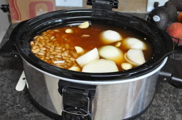 Everything except the salt goes into the crockpot (salt makes your beans tough).