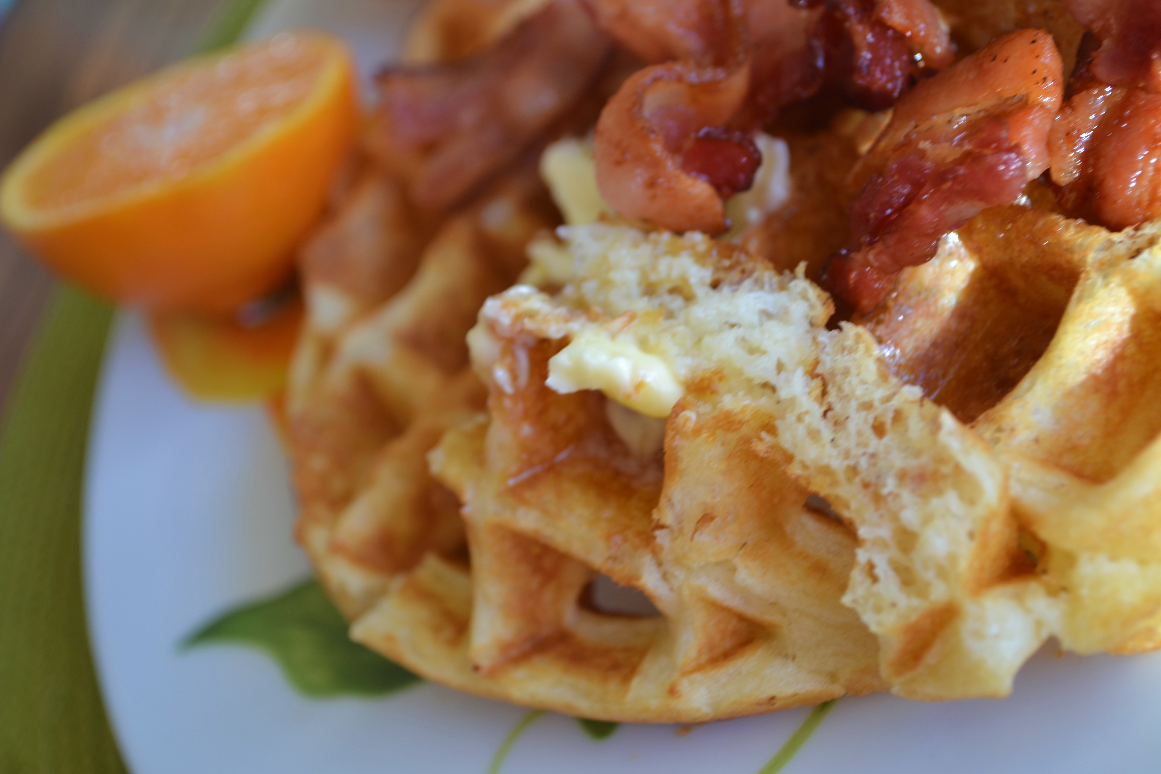Light, Airy, Crispy Bacon Waffles (Best. Waffles. Ever.)