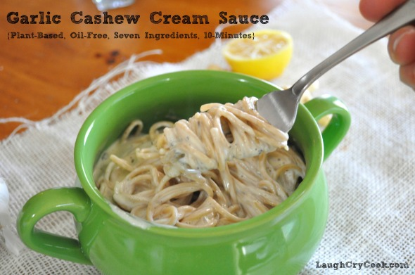 Vegan Garlic Cream Sauce - Laugh, Cry, Cook