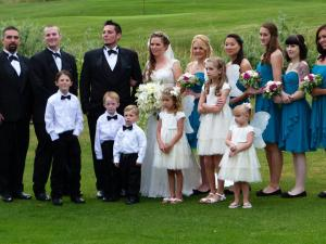 My youngest son Gabe, his lovely wife Aleks and wedding party (The 3 little ring-bearers are are grandsons!)