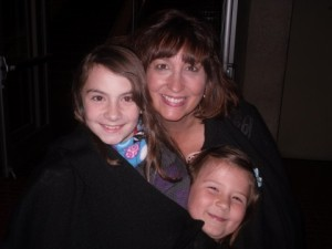 """My nieces, Tori and Whitney snuggled up with me, """"Crazy Aunt Becky"""""""