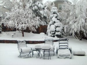 spring patio snow