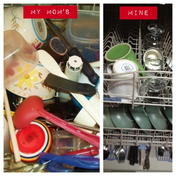 These are actual pictures of how we each load our dishwashers. I can say this, at least: I am a FAST loader.